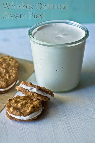 whiskey oatmeal cream piesChocolates Trifles, Tasty Recipe, Cookies, Pies Recipe, Whiskey Oatmeal, Food, Oatmeal Cream Pies, Cream Piesi, Dessertsspeci Treats