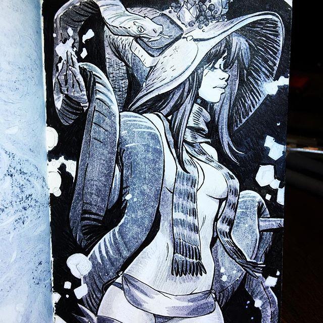 Inktober #13:  Boa Tangler Tesche . . #waybehind #johnpolidora #norsechowder #miscreantsandthieves #art #artist #artwork #artstagram #artistsoninstagram #line #lineart #pen #ink #inked #inkwork #doodle #doodles #draw #drawing #drawings #sketch #sketches #sketching #sketchbook #inktober #inktober2017 #witch #witches