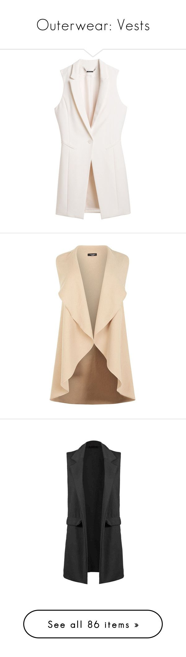 """""""Outerwear: Vests"""" by jay-to-the-kay ❤ liked on Polyvore featuring vests, outerwear, jackets, blazers, petite blazer, long blazer, long line blazer, no sleeve jacket, long blazer jacket and waterfall vest"""