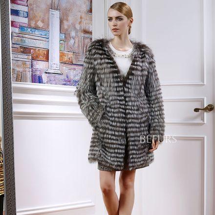 Топ! Мода v-образным вырезом реального чернобурки шуба чернобурка пиджаки пальто для женщин реальные шубы долгая зима Большой размер BF-C0072
