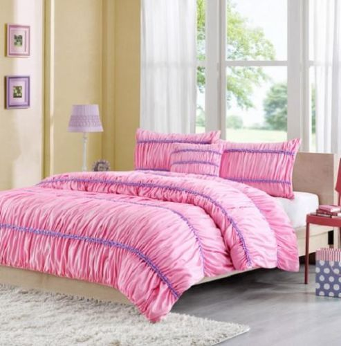 Pink And Purple Bedroom: FULL-QUEEN-Girls-PRETTY-Pink-Purple-RUFFLED-RUCHED
