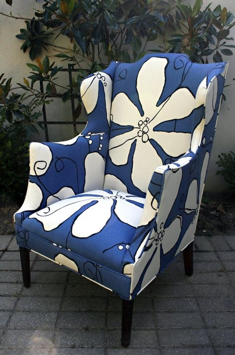 One of a kind antique arm chair with Hable's clover poppy cotton canvas.