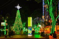 Bogota Colombia - Christmas Lights in Plaza de Usaquen stock photo