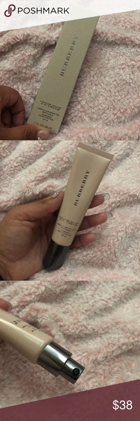 Burberry Fresh Glow BB Cream (Medium) BNIB  Authentic  Minor damage on box  Color: medium 02   A multifunctional B.B. Cream with Broad Spectrum SPF 20 that moisturizes, protects, perfects, and enhances the skin to create a healthy-looking, dewy glow. Burberry Makeup Foundation