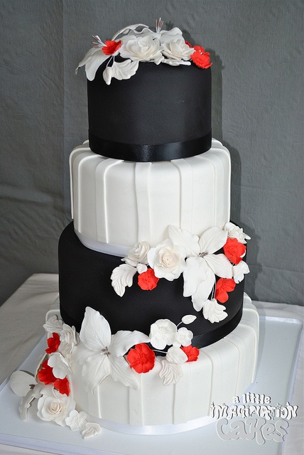 Black White and Red weding cake with Gumpaste sugar roses and lillies by A Little Imagination Cakes, via Flickr