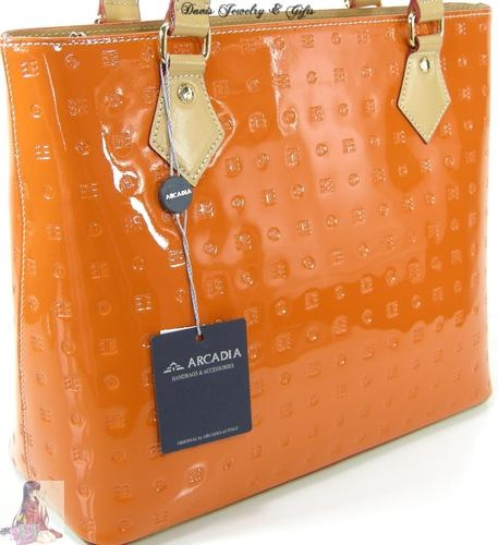 Arcadia Purse Shoulder Hand Bag Tote Italy Patent Leather Fall/Winter Orange NWT | eBay--I'm thinking a different color though