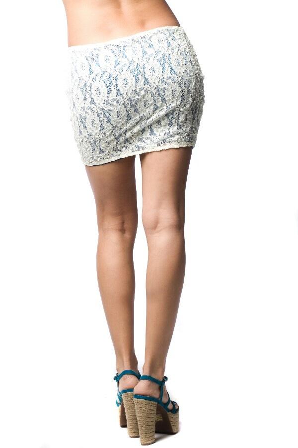 White lace short skirt