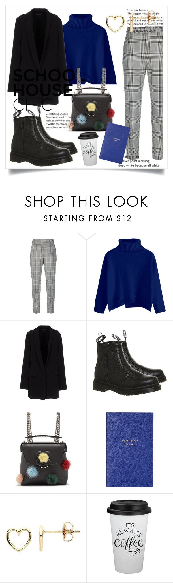 """""""school house chic"""" by sophia-pantel ❤ liked on Polyvore featuring Alexander Wang, Twin-Set, Dr. Martens, Fendi, Smythson and Estella Bartlett"""