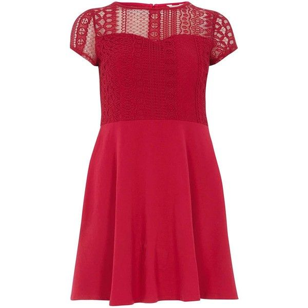 Dorothy Perkins Petite fit and flare dress ($29) ❤ liked on Polyvore featuring dresses, petite, pink, fit and flare dress, dorothy perkins dress, cotton dresses, pink dress and pink red dress