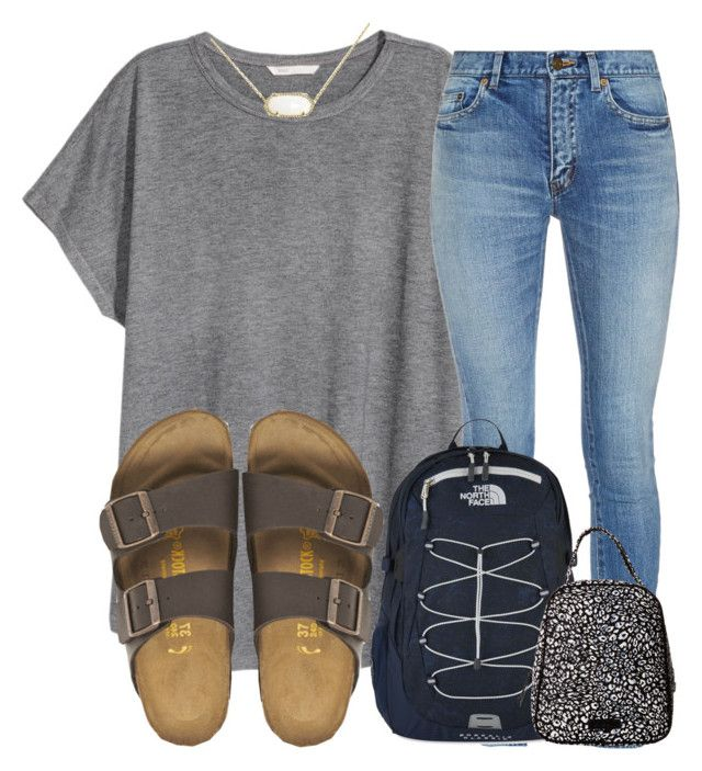 """what did you wear today? comment"" by madiweeksss ❤ liked on Polyvore featuring H&M, Yves Saint Laurent, Birkenstock, The North Face, Vera Bradley and Kendra Scott"