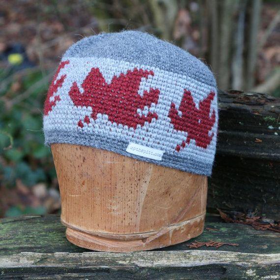 Wool beanie, unisex snowboarding hat, tapestry crochet kulfi, maple leaf hat by UpthePitt www.upthepitt.com