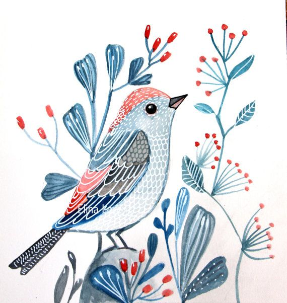 Blue Bird watercolor illustration, blue flowers, red berries. Sublimecolors #etsy