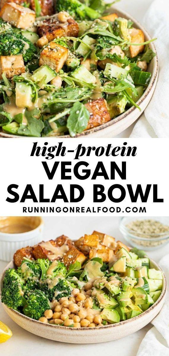 High Protein Vegan Salad Bowl Recipe In 2020 Vegan Recipes Healthy Vegan Salad Bowl High Protein Vegan