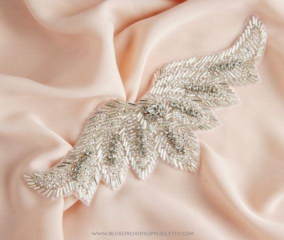 Crystal Beaded Applique Rhinestone Applique - Sashes Fascinators Headbands Apparel Wedding Bridal DIY -Silver Wings -H. $16.25, via Etsy.