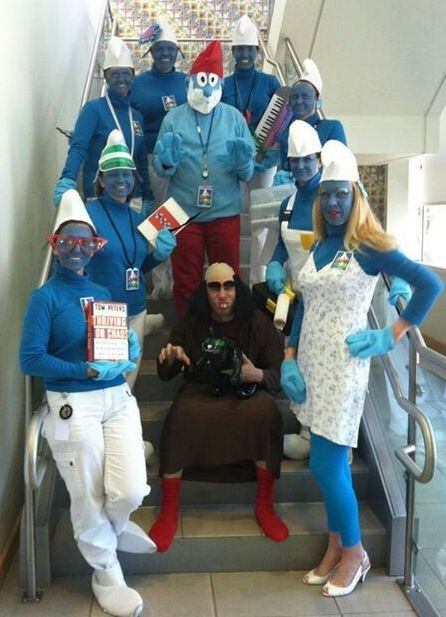 Smurf costumes make perfect group costumes.  See more Smurf costumes and Halloween party ideas at one-stop-party-ideas.com