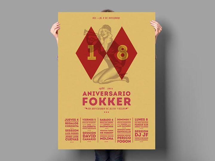 Cartel 18 Aniversario Fokker Bar.