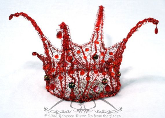 Bead and Wire Crowns | This mini-crown is a full circle of red artistic wire, molded into ...