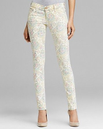 True Religion Jeans - Chrissy Skinny in White Paisley   Bloomingdale's