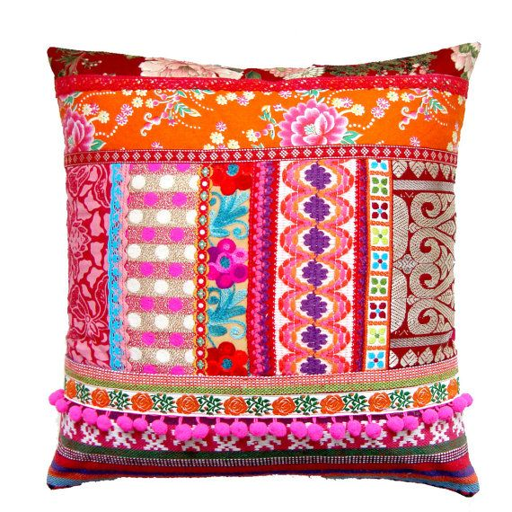 Ethnic Retro Patchwork Cushion / Pillow Cover - Stunning Unique OOak Art Pillow. £39.50, via Etsy.