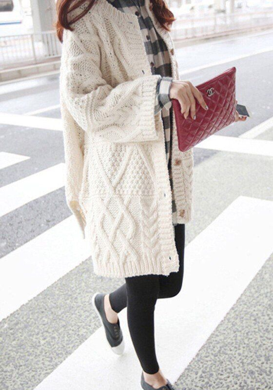 white knit cabled cardigan