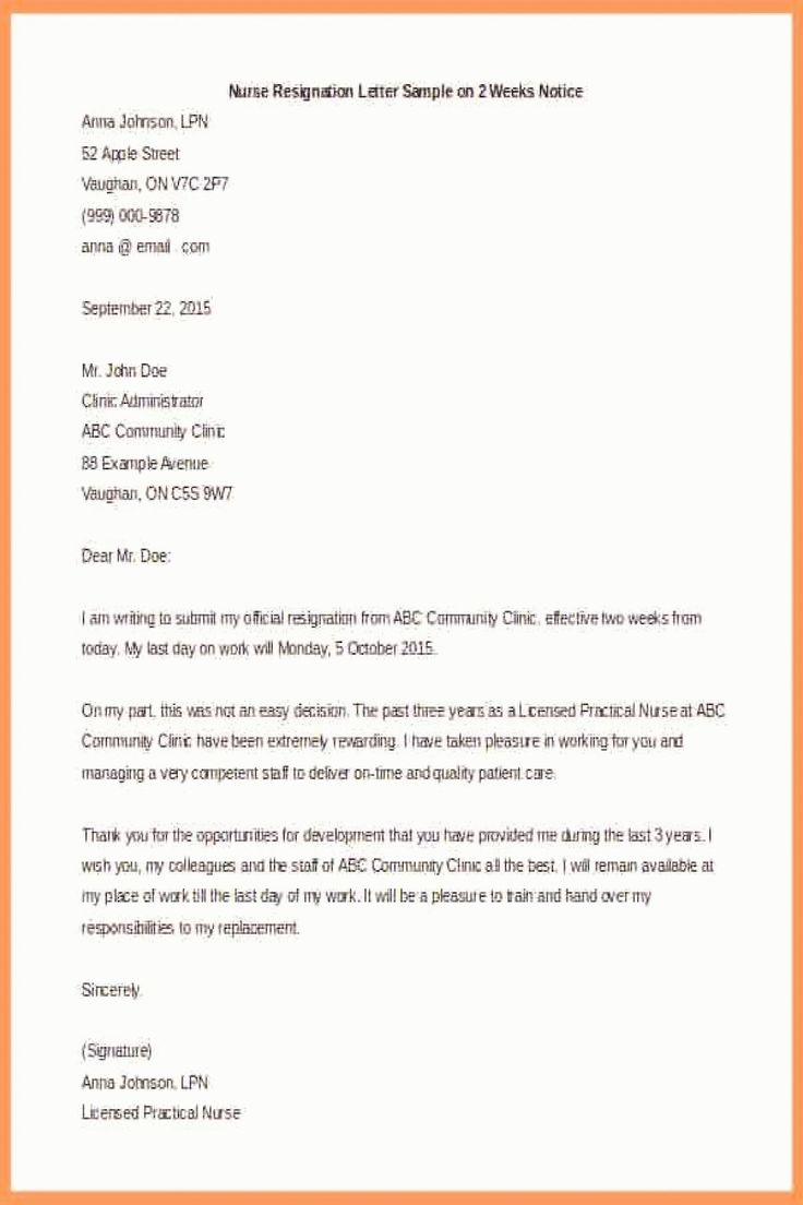 8 resignation letter with 2 weeks notice sles notice