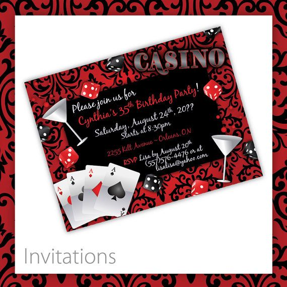 Casino Party Invitations . PRINTABLE . Casino Blush  ~ PDF or JPEG files available ~  HOW IT WORKS ~ These are personalized - Once you purchase, you supply me with the info that you want on invitation  Guest of Honor Name Guest of Honor Age (optional) Date of Event Time of Event Event Location Name Event Location Address RSVP by Date RSVP Contact Info Special Notes  *NOTE* Please make sure all text is final before sending to me, I will supply a proof (2 proofs included - 3+ will be extra…