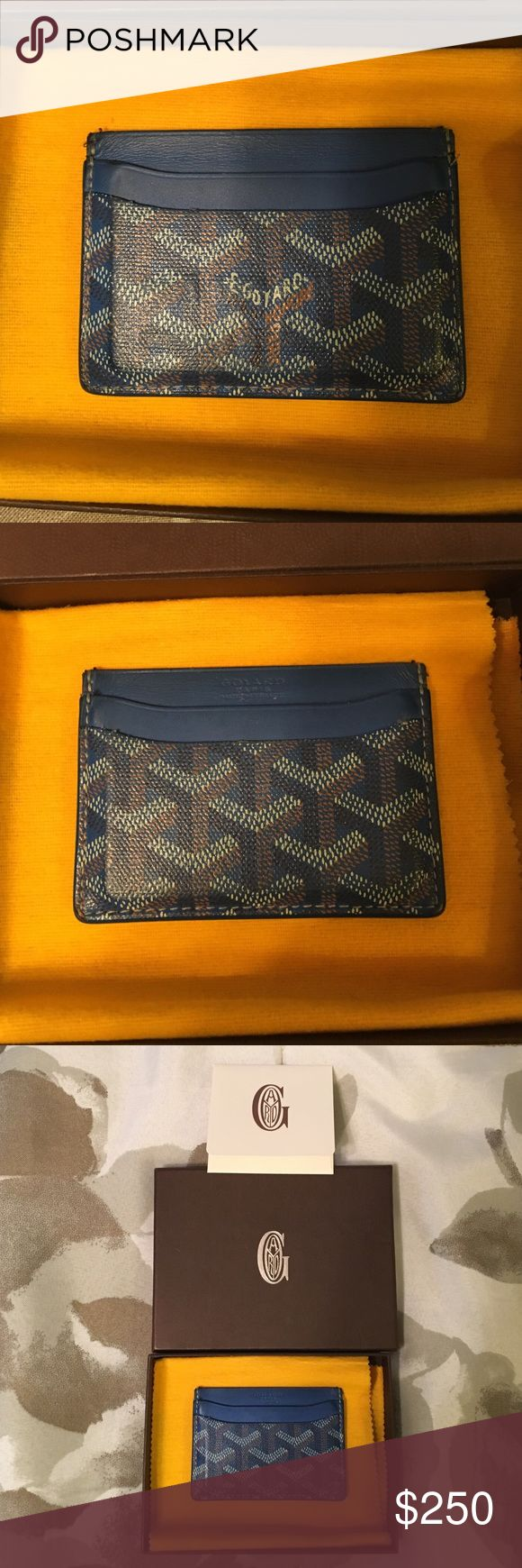 Goyard Card Holder Blue Goyard Card Holder, 4 side slots and 1 middle slot. Some normal wear but in excellent condition with box, care instructions included. Was purchased at Barney's New York. Goyard Accessories Key & Card Holders