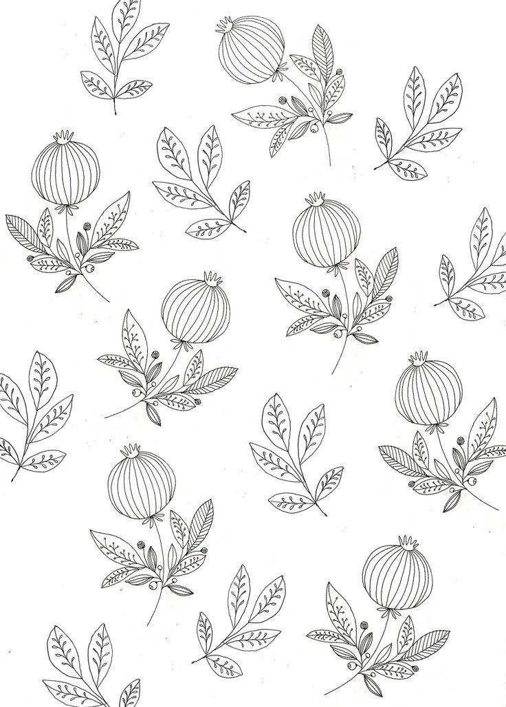 Pomegranate wallpaper.   Katt Frank., floral, motif, leaves, modern
