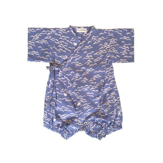 Kimono baby rompertjes Jinbei, NAMI blauw, 赤ちゃんロンパース甚平
