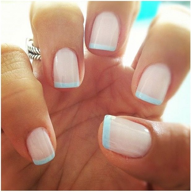 Manicure with blue tips Essie Borrowed and Blue- I love the idea of sneaking the…