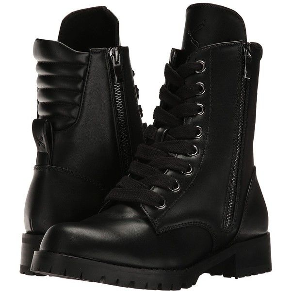 Capezio Flat Combat Boot (Black) Women's Shoes (£55) ❤ liked on Polyvore featuring shoes, boots, combat boots, black flat boots, lace up platform boots, black military boots and lace up boots