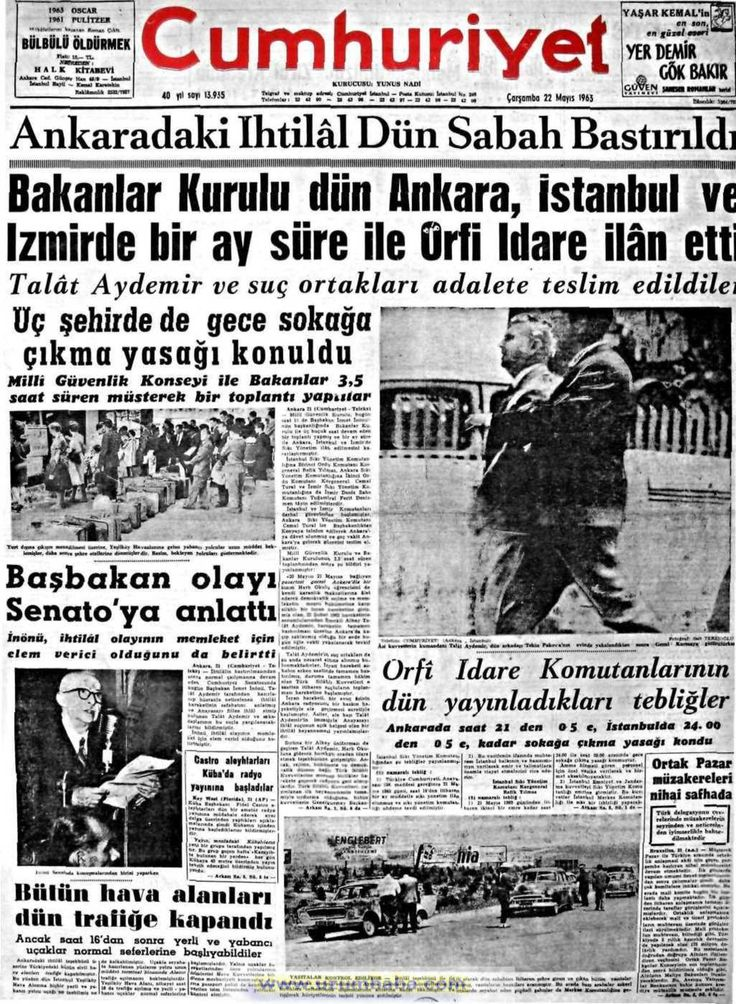 Cumhuriyet gazetesi 22 mayıs 1963