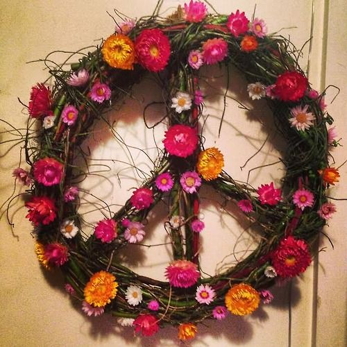 Peace Sign Wreath by Lucy Edmonds