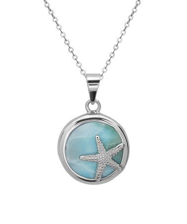 Loving this Larimar & Sterling Silver Starfish Round Pendant Necklace on #zulily! #zulilyfinds