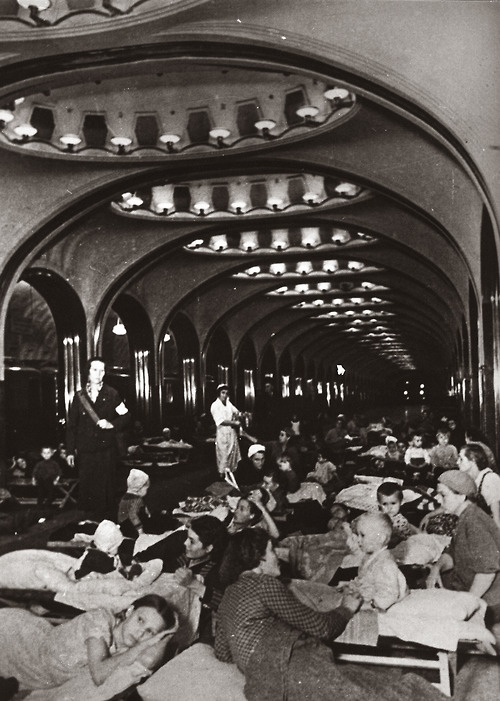 Soviet Women and children take shelter in Moscow's metro stations during a nazi air raid, 1942, during early days of Great Patriotic War.