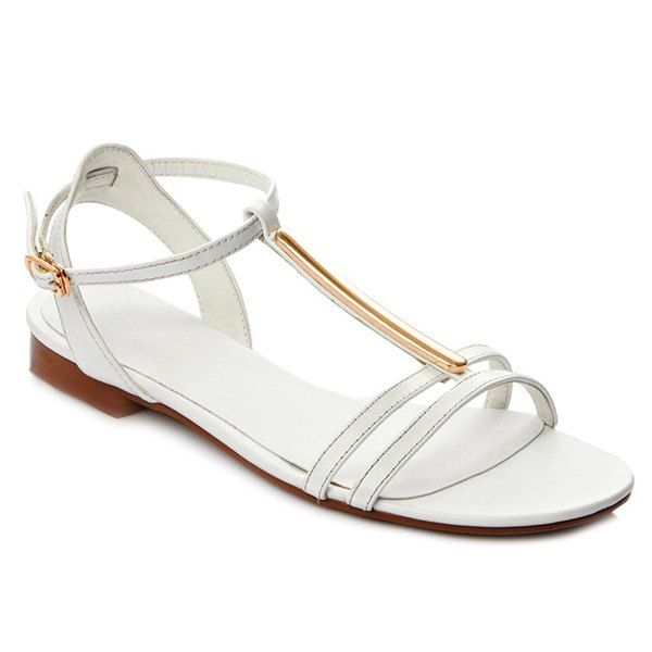 Simple Style Women's Sandals With Metallic and T-Strap Design from 42.86$ by SAMMYDRESS