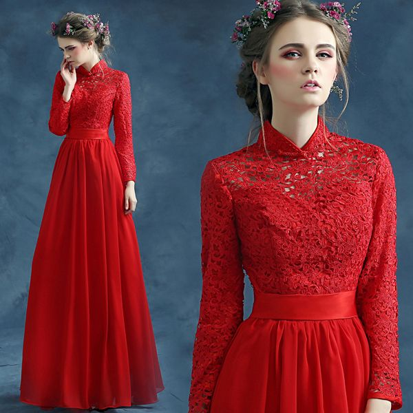 Lace top mandarin collar long sleeve red A-Line evening dress
