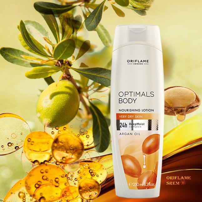 31313-Optimals hranjivi losion za telo s arganovim uljem s DeepMoist kompleksom i intenzivno hranjivim arganovim uljem. Losion koji obnavlja i neguje, revitalizira suvu kožu uz intenzivnu dozu vlažnosti. Za jako suvu kožu.
