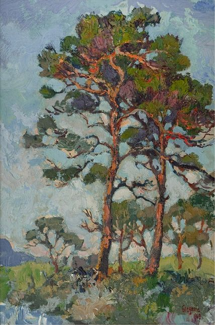 Gregoire Boonzaier - Firs with red trunks, Kenilworth, 1969