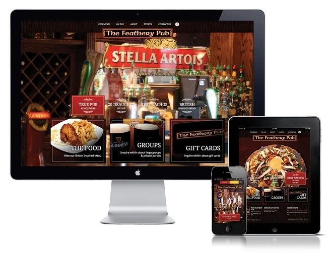 Awesome pub - The Feathery! Extreme Technology created a custom website for this fantastic restaurant. Great British pub atmosphere! Built on a Custom CMS, responsive design, and full menu online!