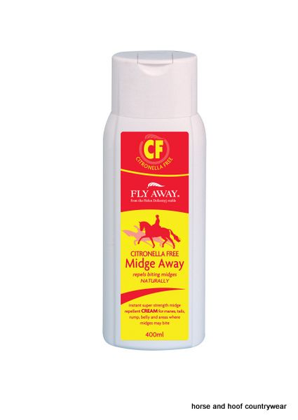 Fly Away Citronella Free Midge Away Cream Powerful natural midge repellent cream suitable for horses that are sensitive to citronella A non greasy herbal formula.