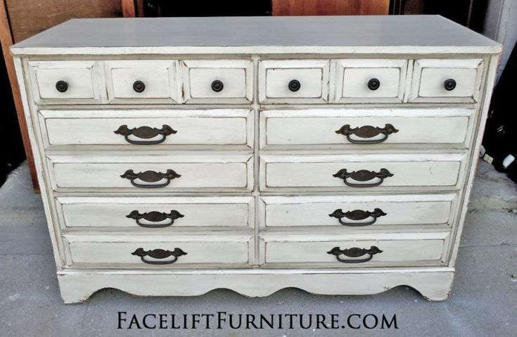 Dresser in Antiqued White and Espresso Glaze. Original hardware. From Facelift Furniture's Dressers collection.