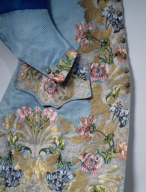 Gorgeous silk, wool, metallic Waistcoat from 1747. Textile by Anna Maria Garthwaite (1690-1763) Weaver - Peter Lekeux (1716-1768) Both Garthwaite and Peter Lekeux were important contributors to the English silk industry in the Spitalfields area of London.