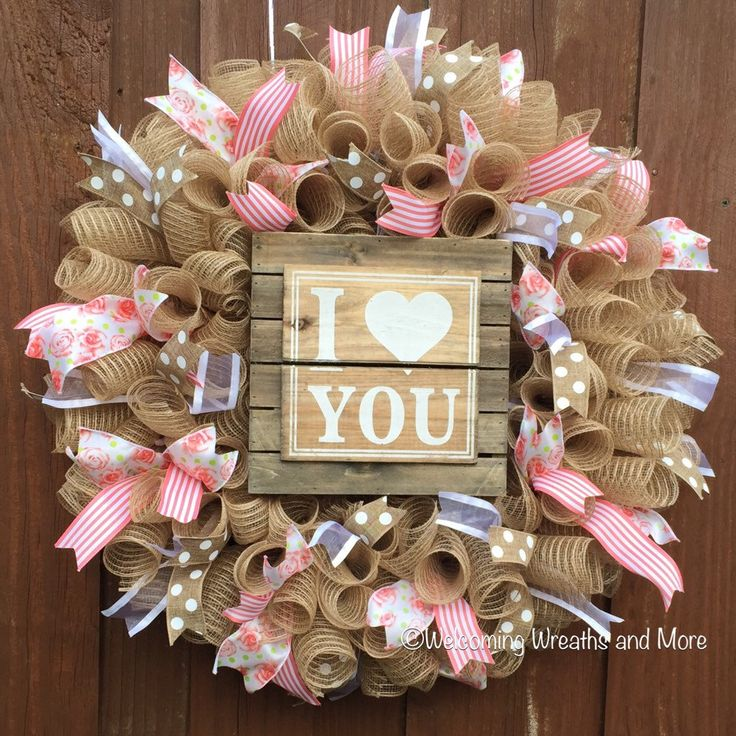 Spring Wreath, Burlap Deco Mesh Wreath, Baby Girl Wreath, Mother's Day Wreath, Love Wreath by WelcomingWreathsMore on Etsy https://www.etsy.com/listing/285872289/spring-wreath-burlap-deco-mesh-wreath