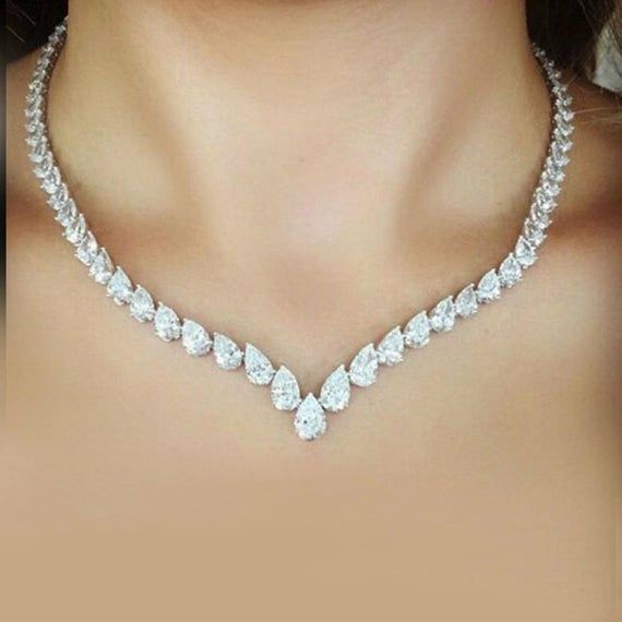Beautiful 40 Ct Pear Shape Diamond Tennis Necklace 14k White Gold Solid Sterling Silver Studded Women Jewelry Wedding Engagement
