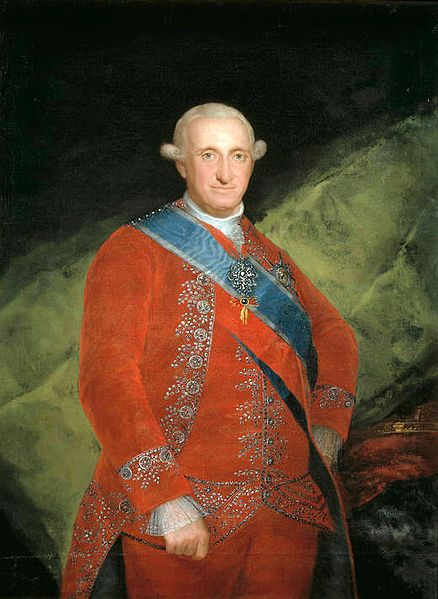 Charles/Carlos IV of Spain by Goya. He served as king from 1788 until his abdication in 1808. He was a well-meaning but thoroughly incompetent king. His weakness set the stage not only for Napoleon's temporary conquest of Spain but also for Spain's weakening hold on its American colonies.