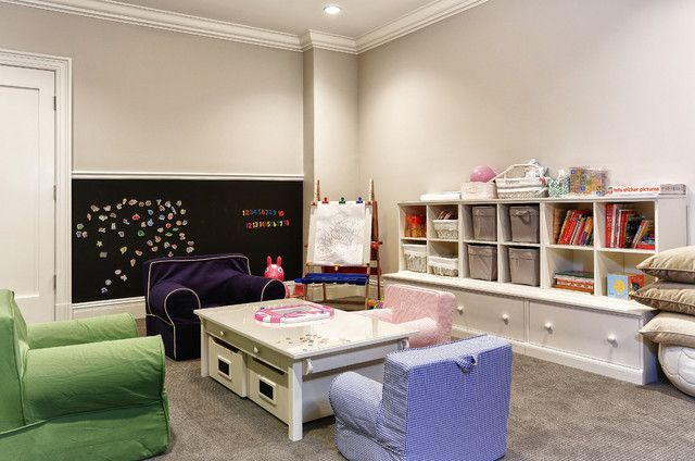 Fascinating Kids Playroom Ideas Near Colorful Children Sofas Along With A Clear Table Near Clear Cabinets