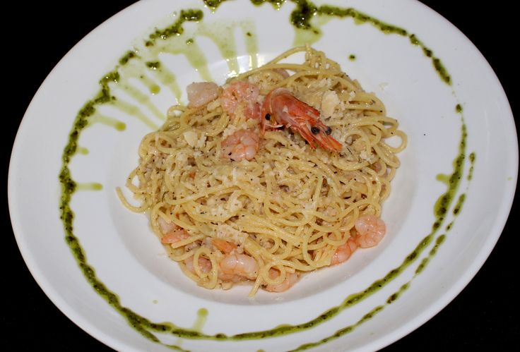 Our Shrimp Spaghetti - shrimps tossed in a garlic oil infused spaghetti