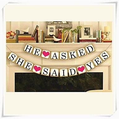 """ HE ASKED,SHE SAID YES"" Wedding Engagement Banner – USD $ 9.99"