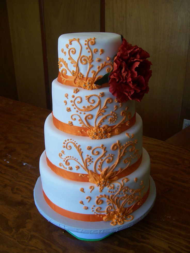 Wedding Cake Orange Et Blanc